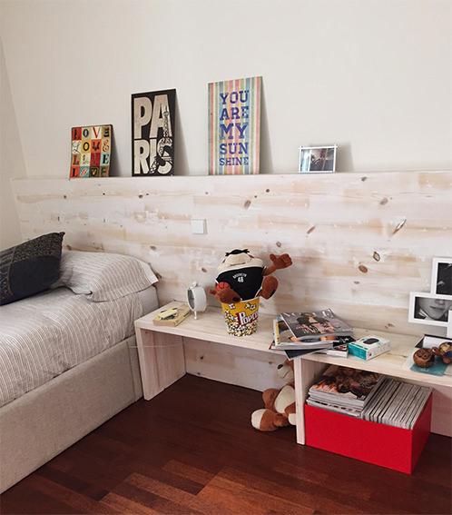 Librer a de dise o a medida con cabecero de cama en madera - Leroy merlin habitaciones juveniles ...