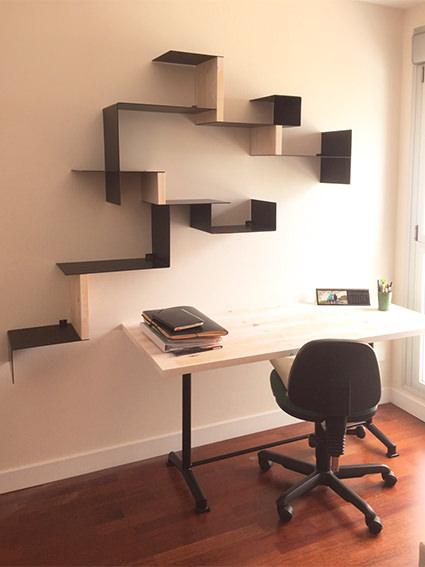 Librería de Diseño a medida con Cabecero de cama en madera acabado ...